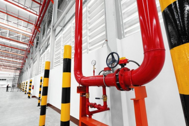 Show water system in warehouse pipes valves and pressure gauge for service when warehouse run