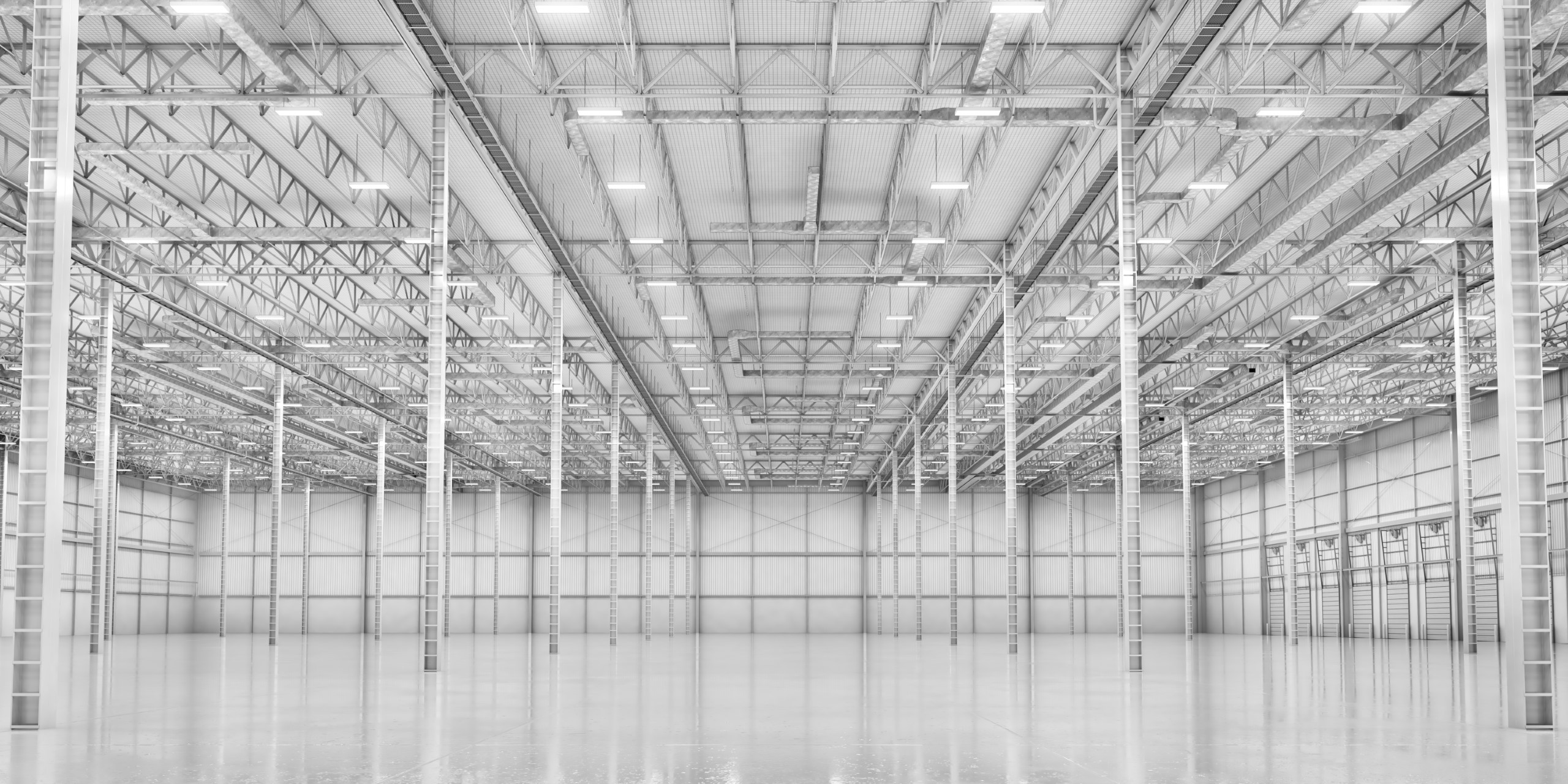 Empty modern white warehouse. 3d illustration